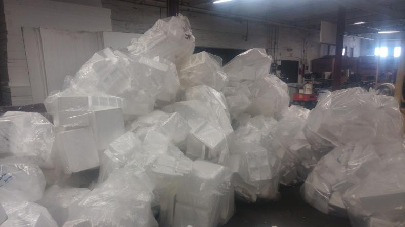 A lot of Styrofoam